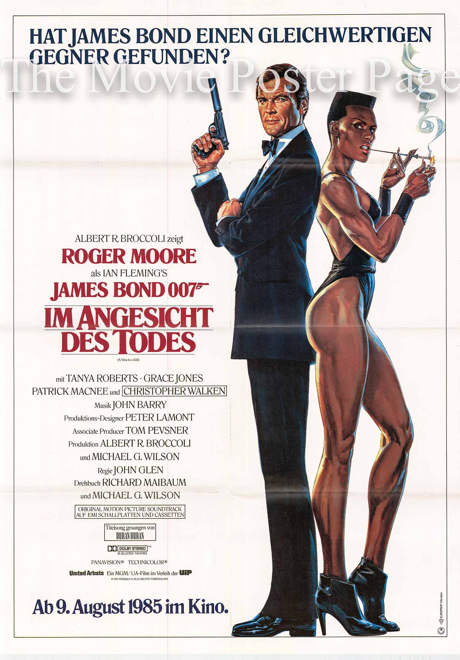 Pictured is a German advance one-sheet poster made to promote the 1985 John Glen film A View to a Kill Starring Roger Moore as James Bond.