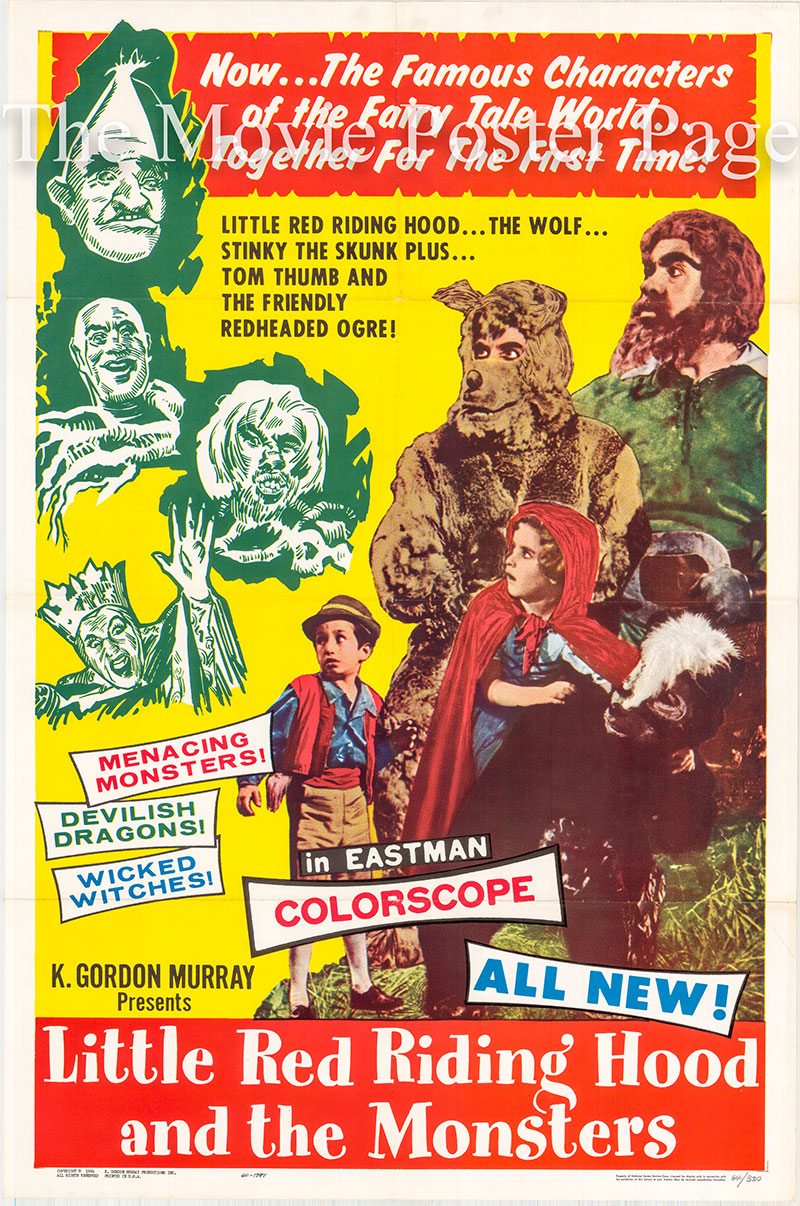 Pictured is a US one-sheet promotional poster for a 1964 rerelease of the 1962 Roberto Rodriguez film Tom Thumb and Little Red Riding Hood film starring Maria Gracia as Little Red Riding Hood.