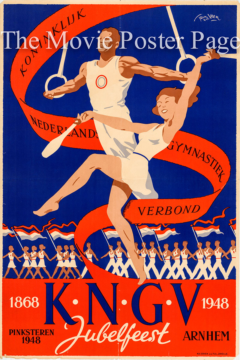 Pictured is a promotional poster for the 1948 Royal Dutch Gymnastics Union Pentecostal Jubilee Festival.