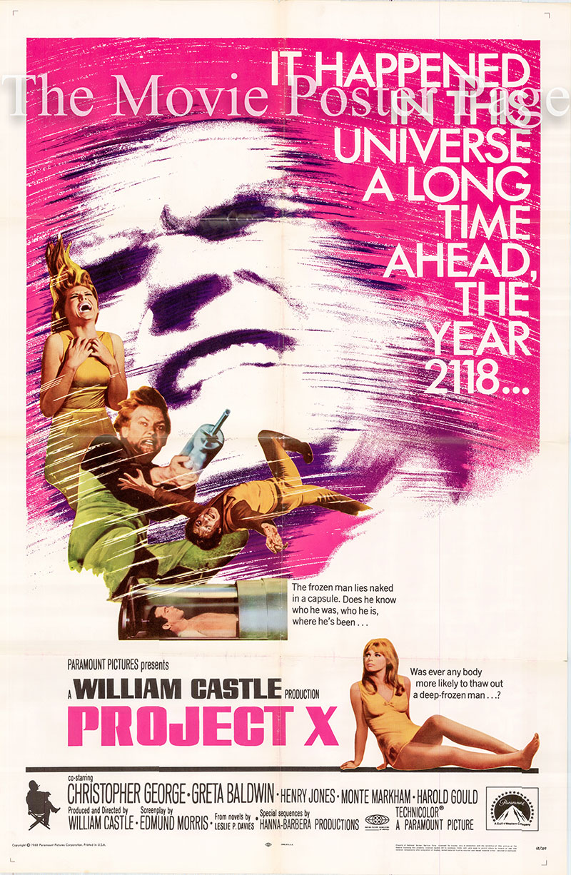 Pictured is a US one-sheet promotional poster for the 1968 William Castle film Project X starring Christopher George.
