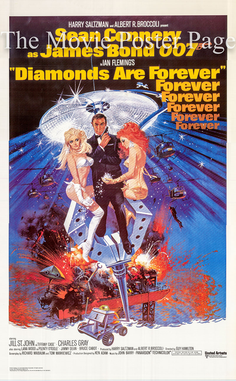 Pictured is a 25x39 reprint of a US one-sheet poster for the 1971 Guy Hamilton film Diamonds are Forever starring Sean Connery as James Bond.