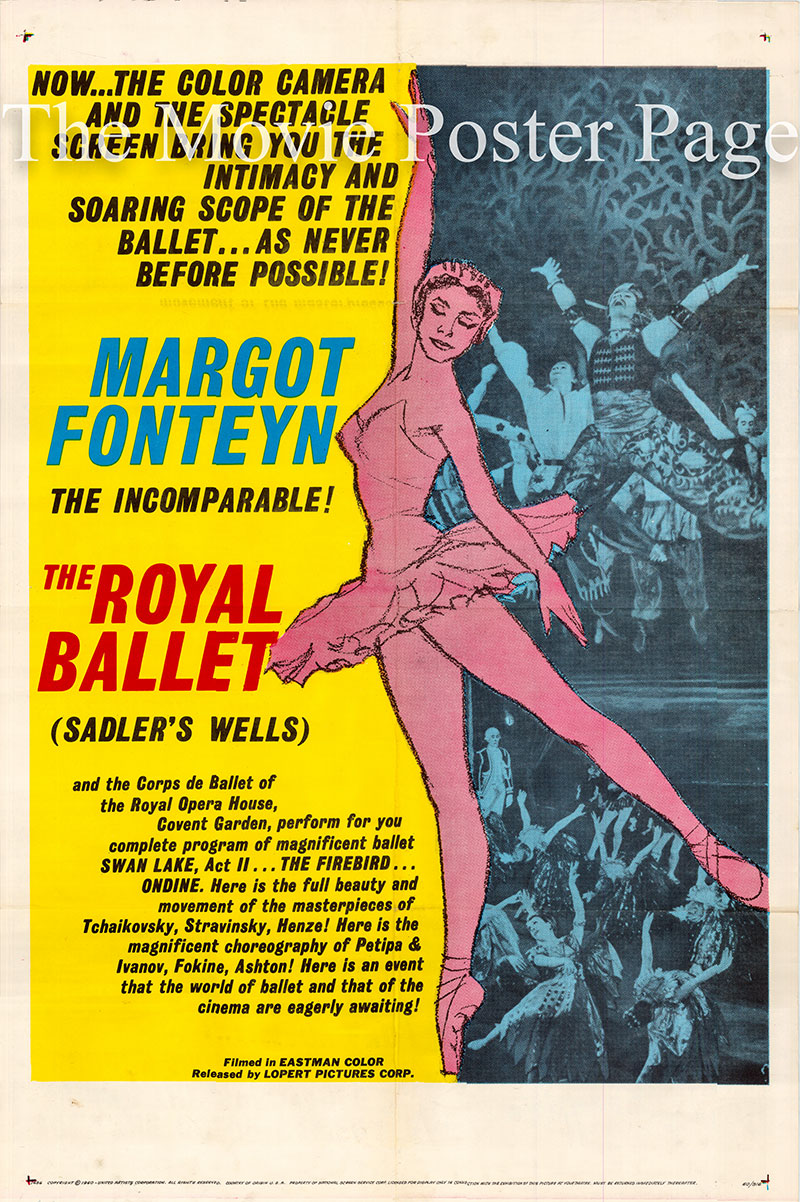 Pictured is a US one-sheet promotional poster for the 1960 Paul Czinner film The Royal Ballet starring Margot Fonteyn.