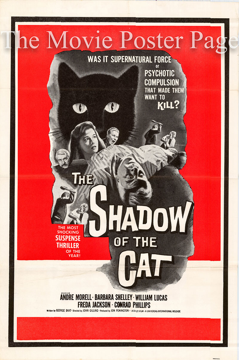 Pictured is a US one-sheet poster for the 1961 John Gilling film The Shadow of the Cat starring Andre Morell as Walter Venable.
