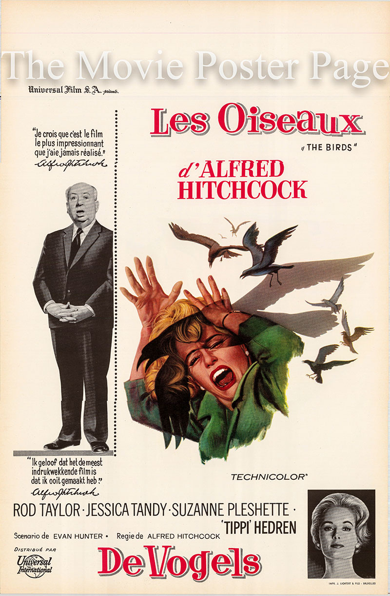 Pictured is a Belgian promotional poster for the 1963 Alfred Hitchcock film The Birds starring Tippi Hedren as Melanie Daniels.