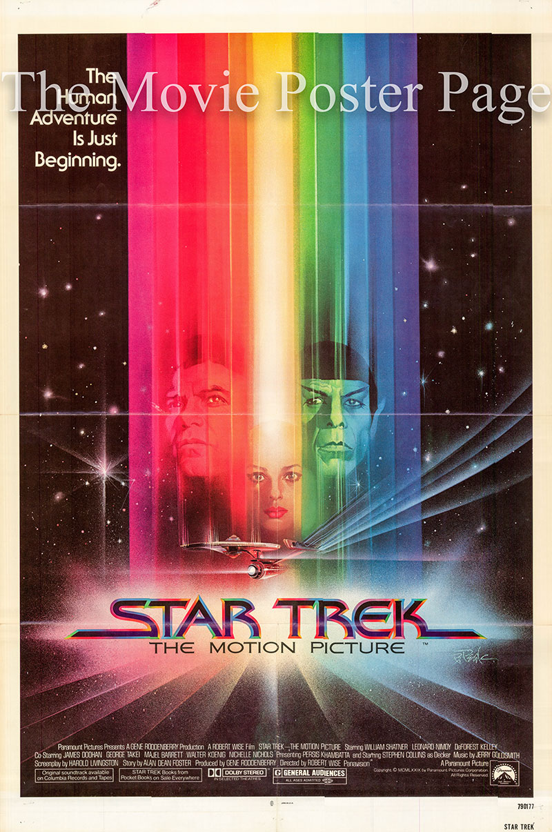 Pictured is a US one-sheet poster for the 1979 Robert Wise film Star Trek: The Motion Picture starring William Shatner as Kirk.