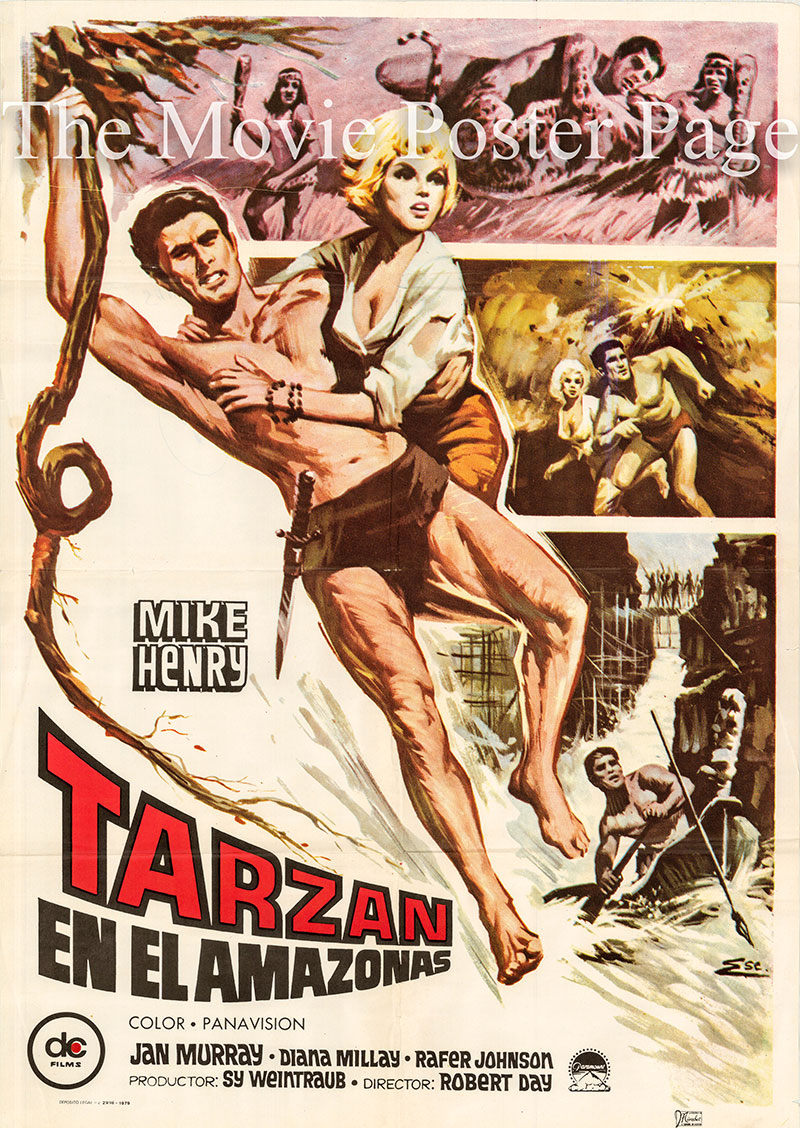 Pictured is a Spanish promotional poster for the 1967 Robert Day film Tarzan and the Great River starring Mike Henry.