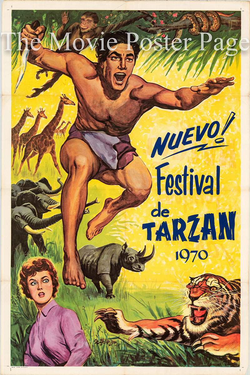 Pictured is a Spanish one-sheet promotional poster for a 1970 Tarzan film festival.