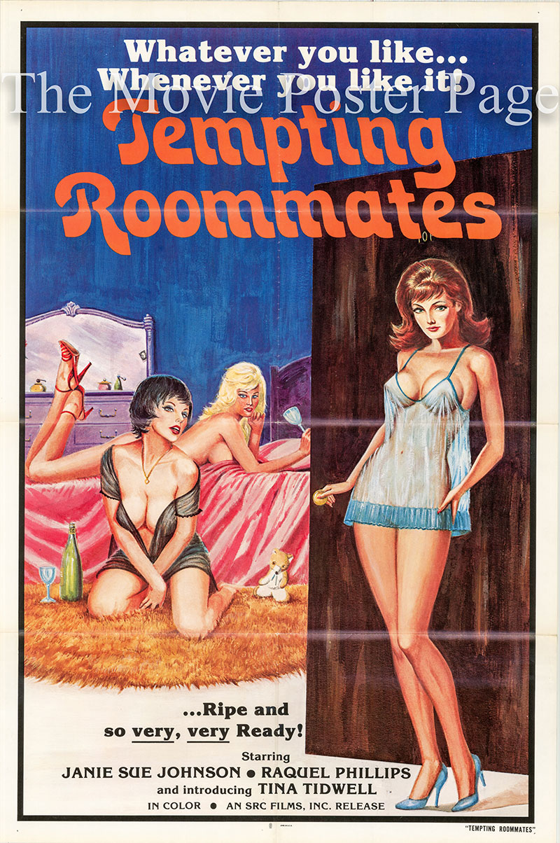 Pictured is a US one-sheet poster for the 1974 Erwin C. Dietrich film Tempting Roommates AKA Self Service Girls starring Janie Sue Johnson.