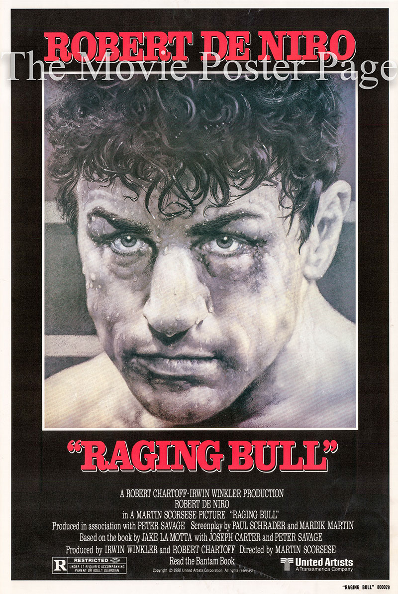 Pictured is reprint of a US promotional one-sheet poster for the 1980 Martin Scorcese film Raging Bull starring Robert DeNiro.