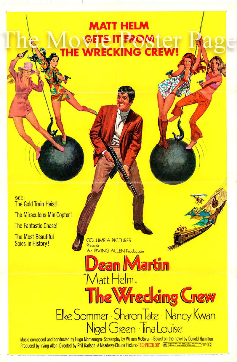 Pictured is a US one-sheet promotional poster for the 1968 Phil Karlson film The Wrecking Crew starring Dean Martin as Matt Helm.