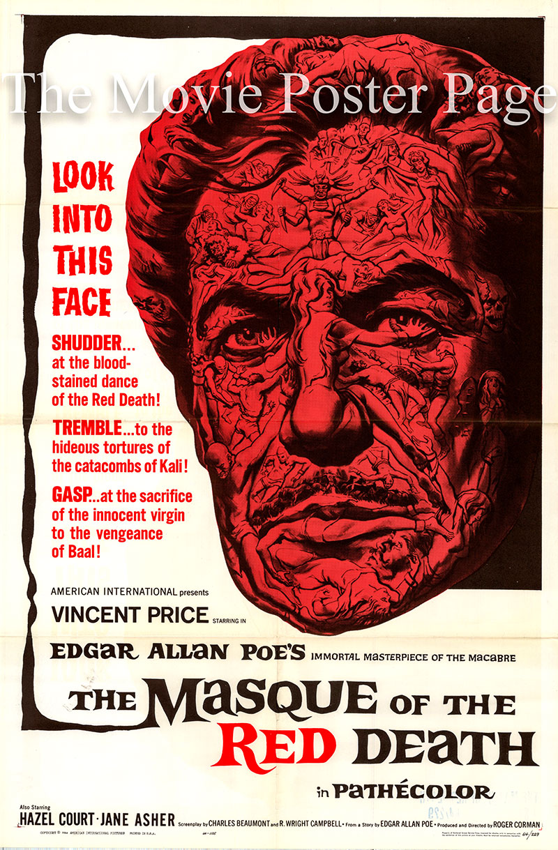 Pictured is a US one-sheet promotional poster for the 1964 Roger Corman film The Masque of the Red Death starring Vincent Price as Prince Prospero.
