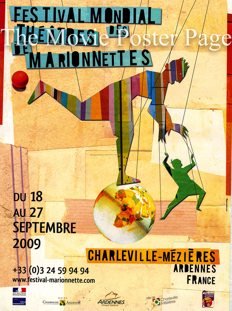 Pictured is a French promotional poster for the 2009 Puppet Festival in Charleville-Mezieres in Ardennes France.