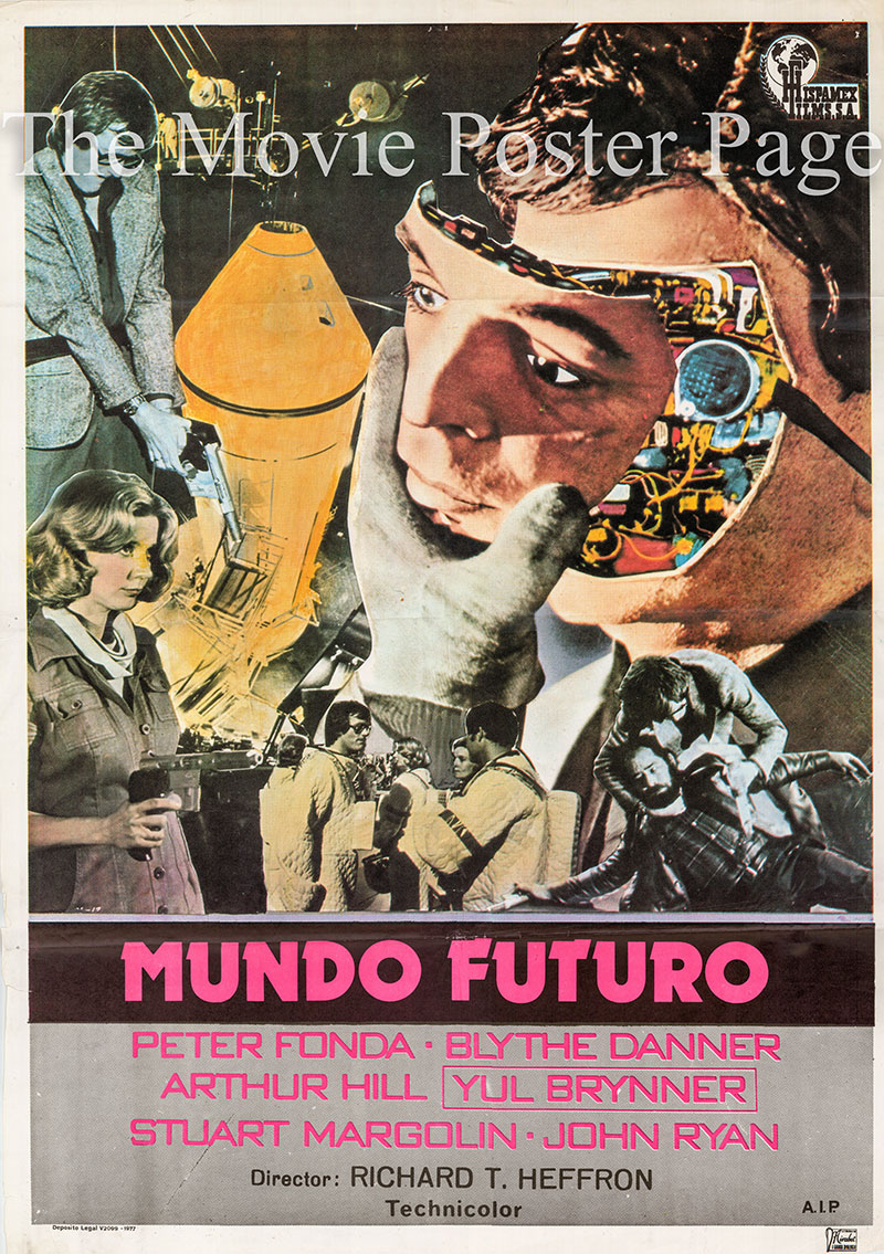 Pictured is a Spanish one-sheet poster for a 1977 rerelease of the 1976 Richard T. Heffron film Futureworld starring Peter Fonda as Chuck Browning.