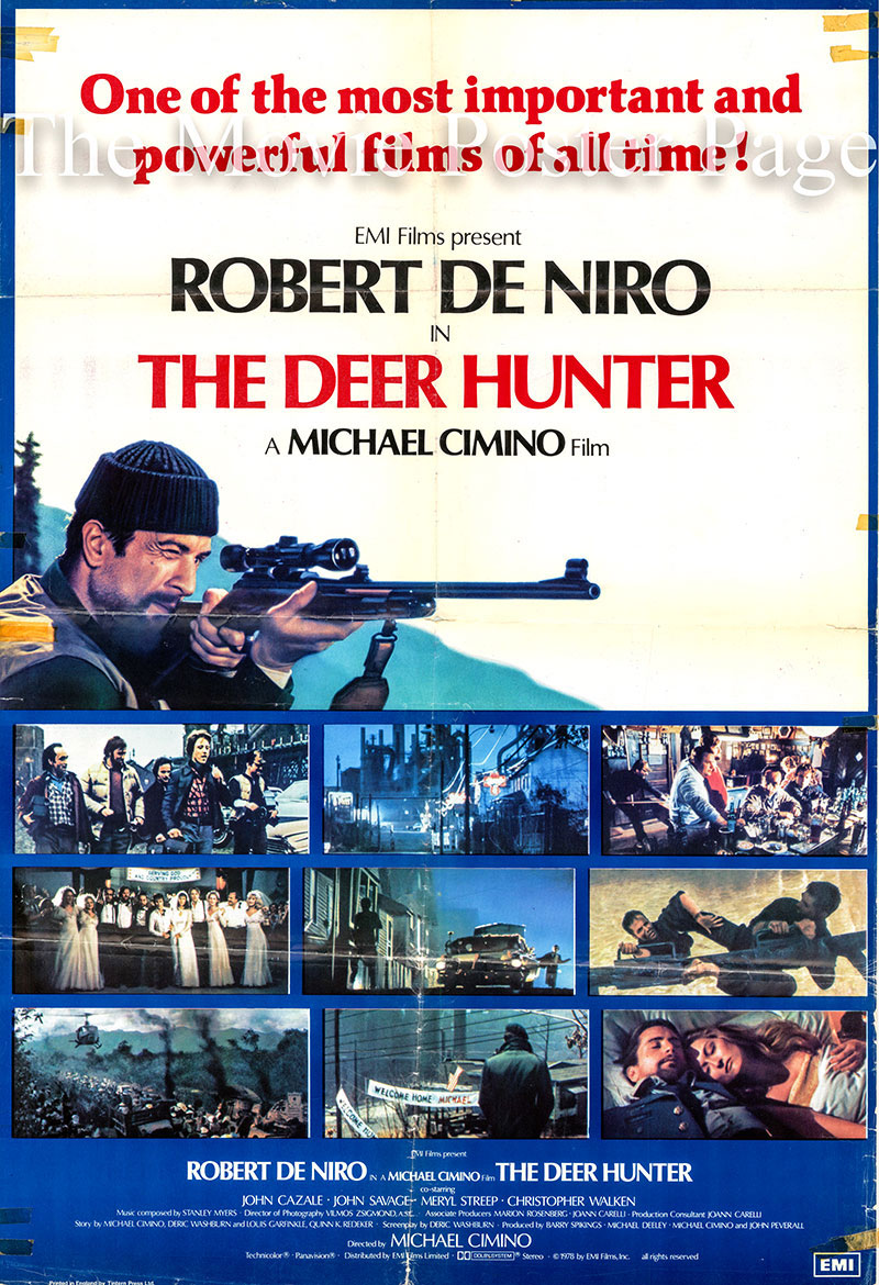 Pictured is a UK one-sheet promotional poster for the 1978 Michael Cimino film The Deer Hunter starring Robert De Niro as Michael.