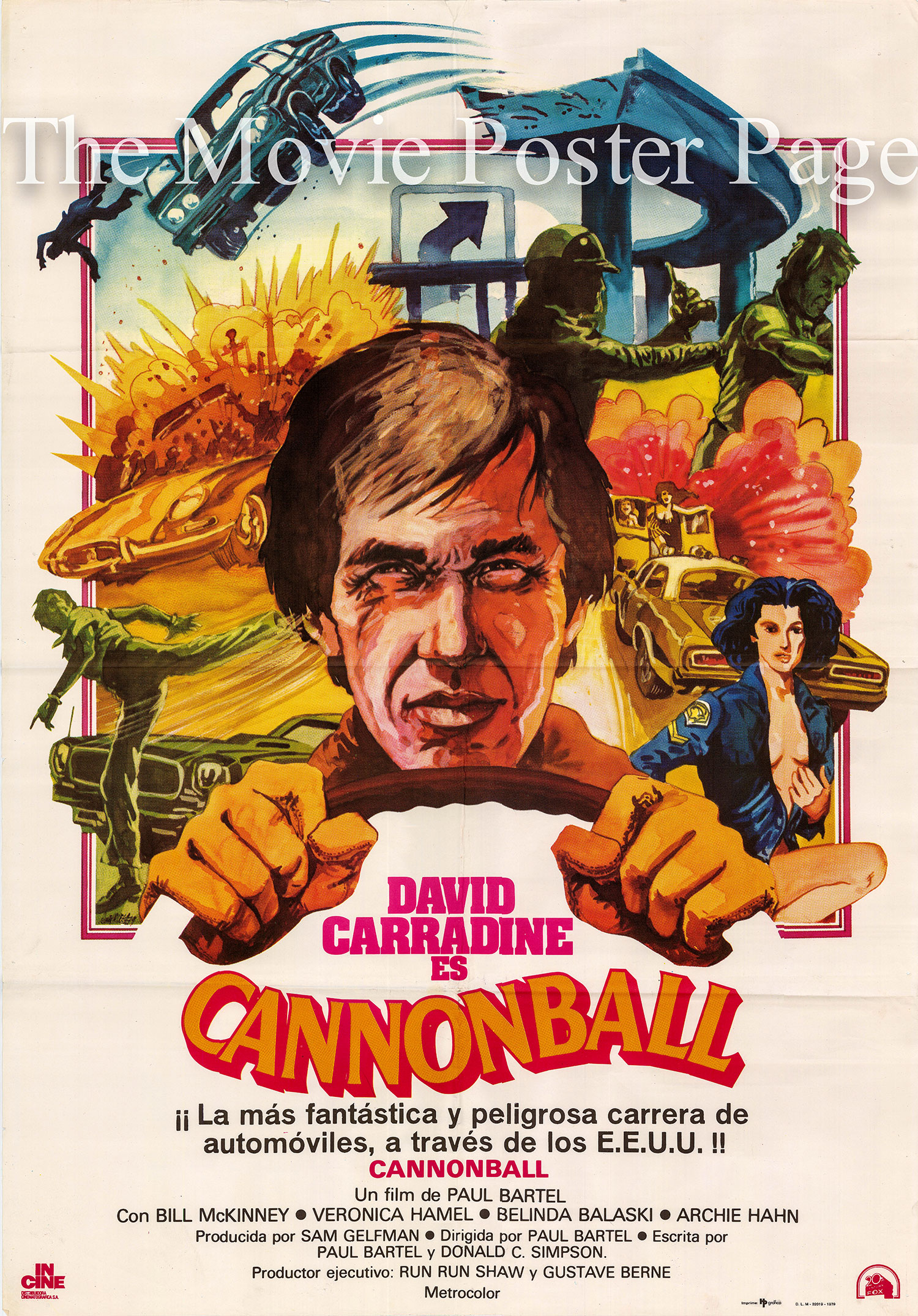 Pictured is a Spanish one-sheet poster for a 1979 rerelease of the 1976 Paul Bartel film Cannonball starring David Carradine.