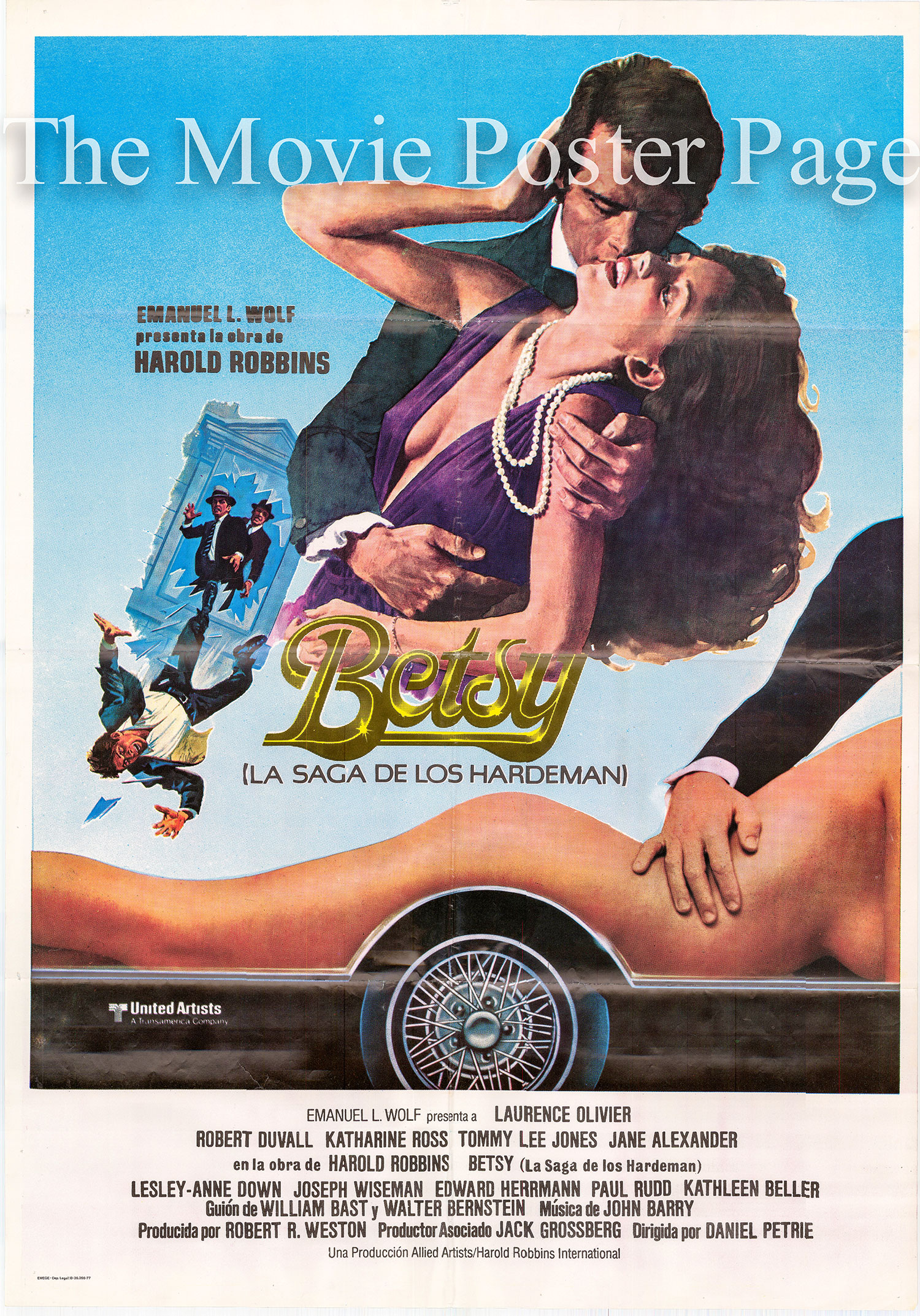 Pictured is a Spanish promotional poster for the 1978 Daniel Petrie film the Betsy starring Laurence Olivier.