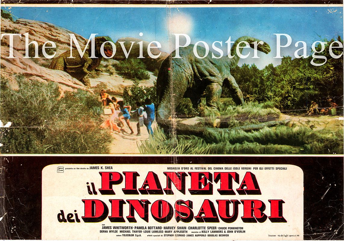 Pictured is a Italian busta poster for the 1977 James K. Shea film Planet of the Dinosaurs starring James Whitworth as Jim.