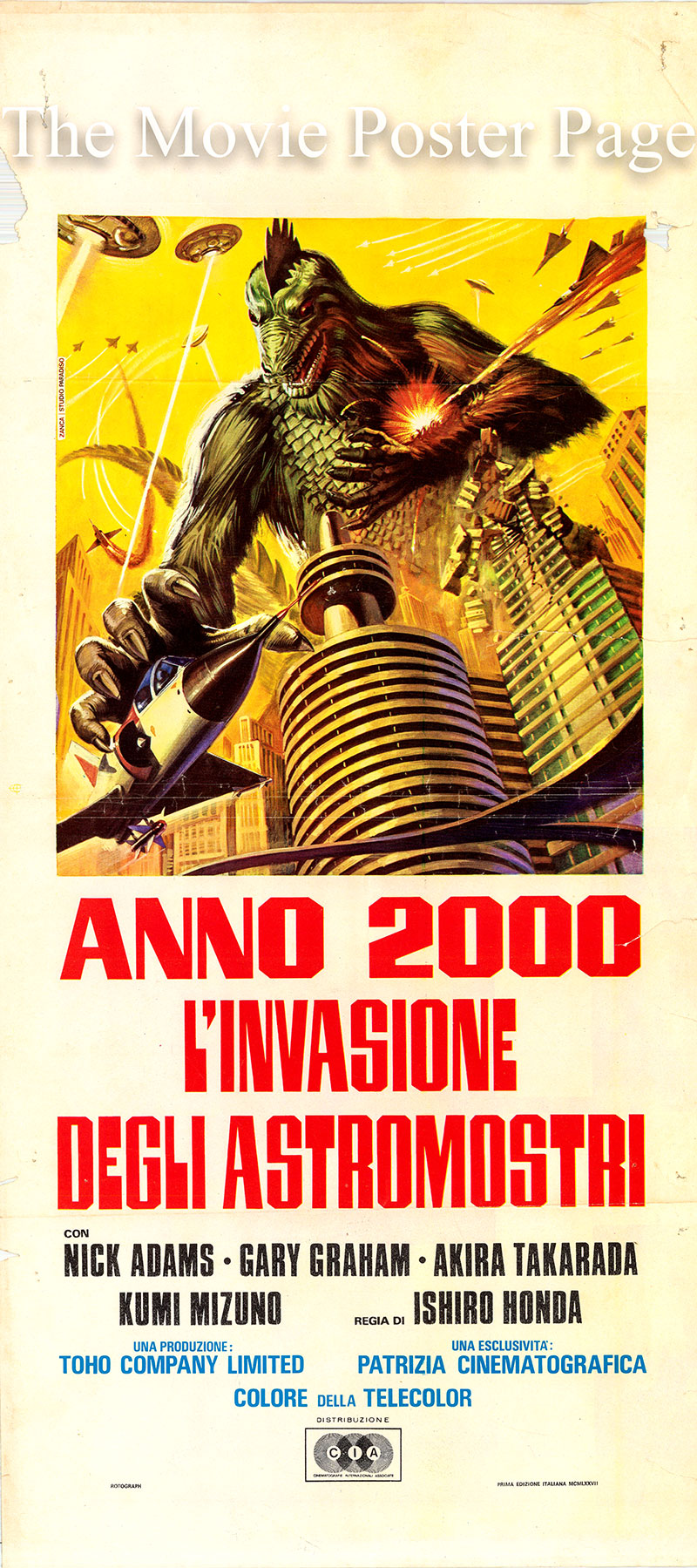 Pictured is an Italian locandina promotional poster for the 1965 Ishiro Honda film Godzilla vs. Monster Zero starring Nick Adams.