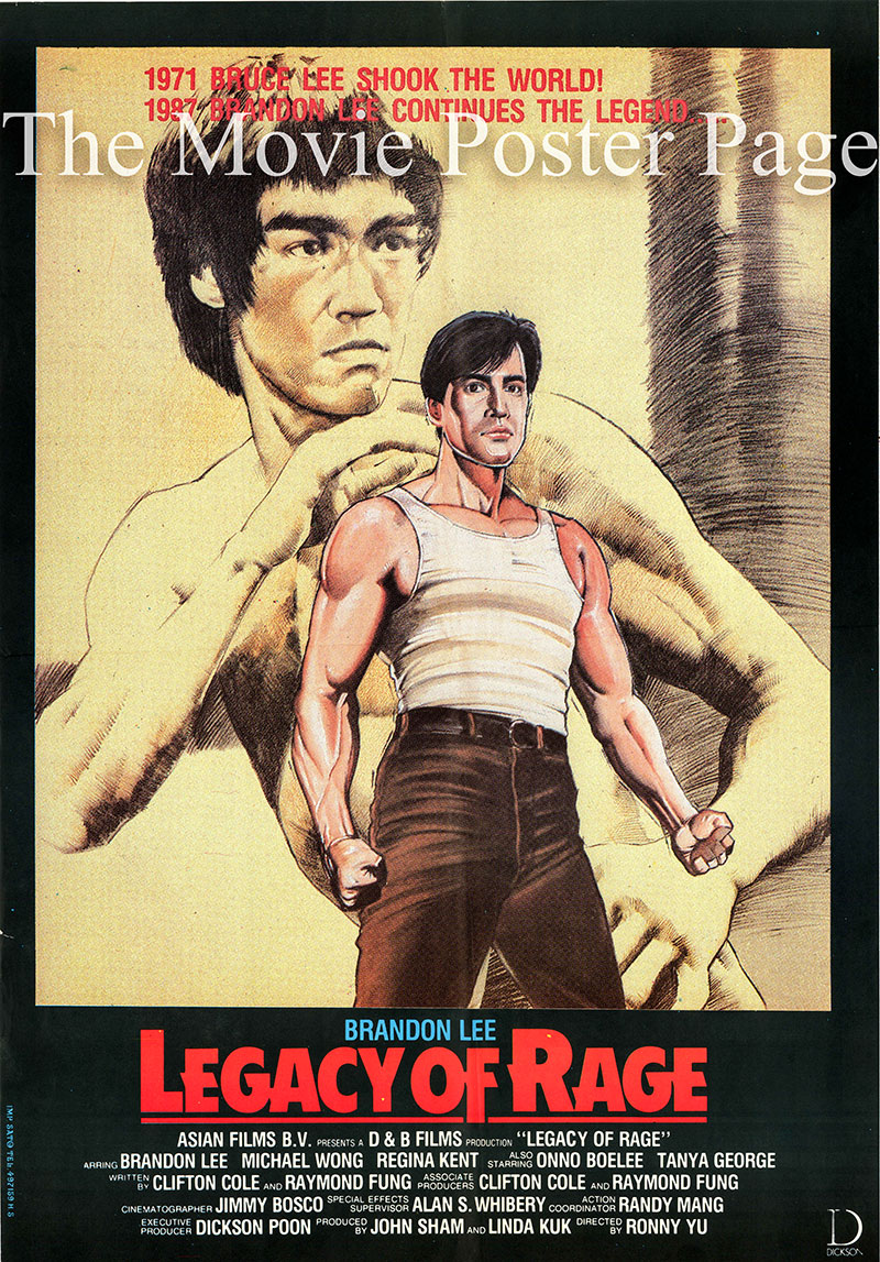 Pictured is a Lebanese promotional poster for the 1987 Ronny Yu film Legacy of Rage starring Brandon Lee as Brandon Ma.