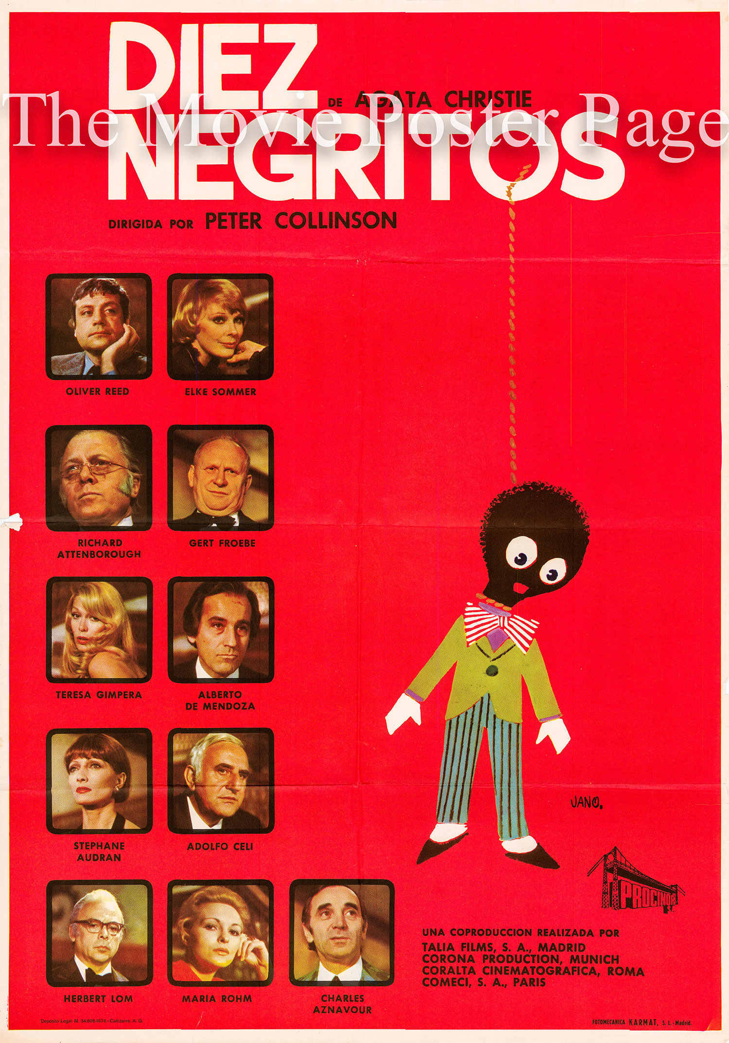 Pictured is a Spanish one-sheet promotional poster for the 1974 Peter Collinson film And Then There Were None starring Oliver Reed as Hugh Lombard.