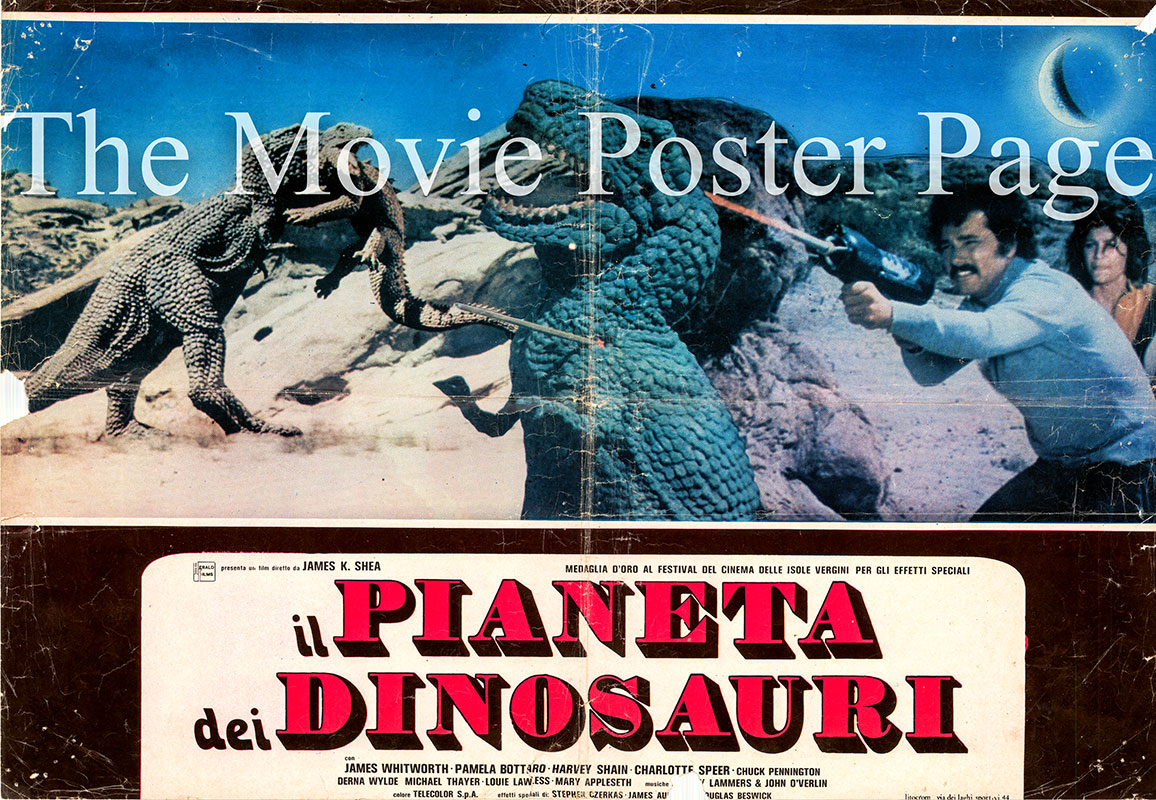 Pictured is an Italian busta poster for the 1977 James K. Shea film Planet of the Dinosaurs starring James Whitworth as Jim.