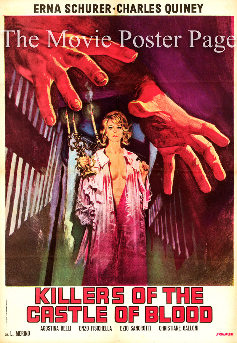 Pictured is an Italian one-sheet promotional poster for the 1970 Jose Luis Merino film Killers of the Castle of Blood starring Erna Schurer as Ivanna Rakowsky..