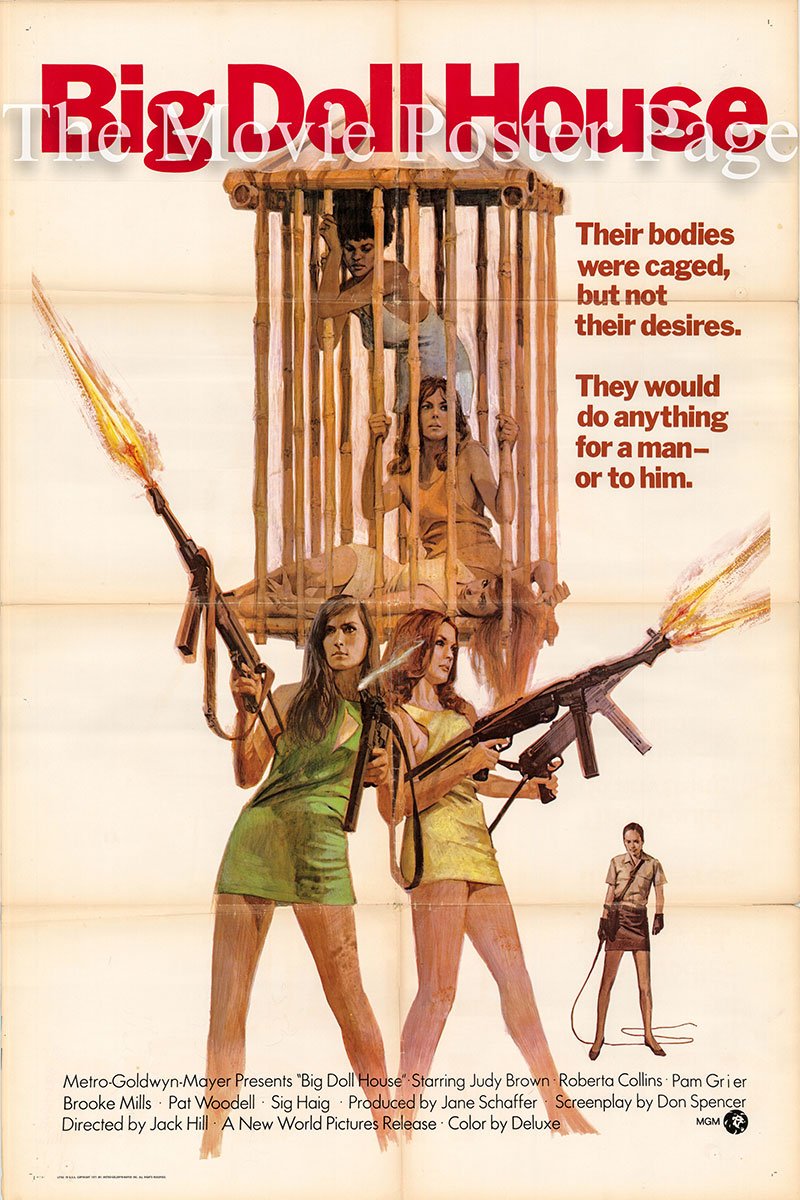 Pictured is a US one-sheet promotional poster for the 1971 Jack Hill film The Big Doll House starring Judith Brown as Collier.