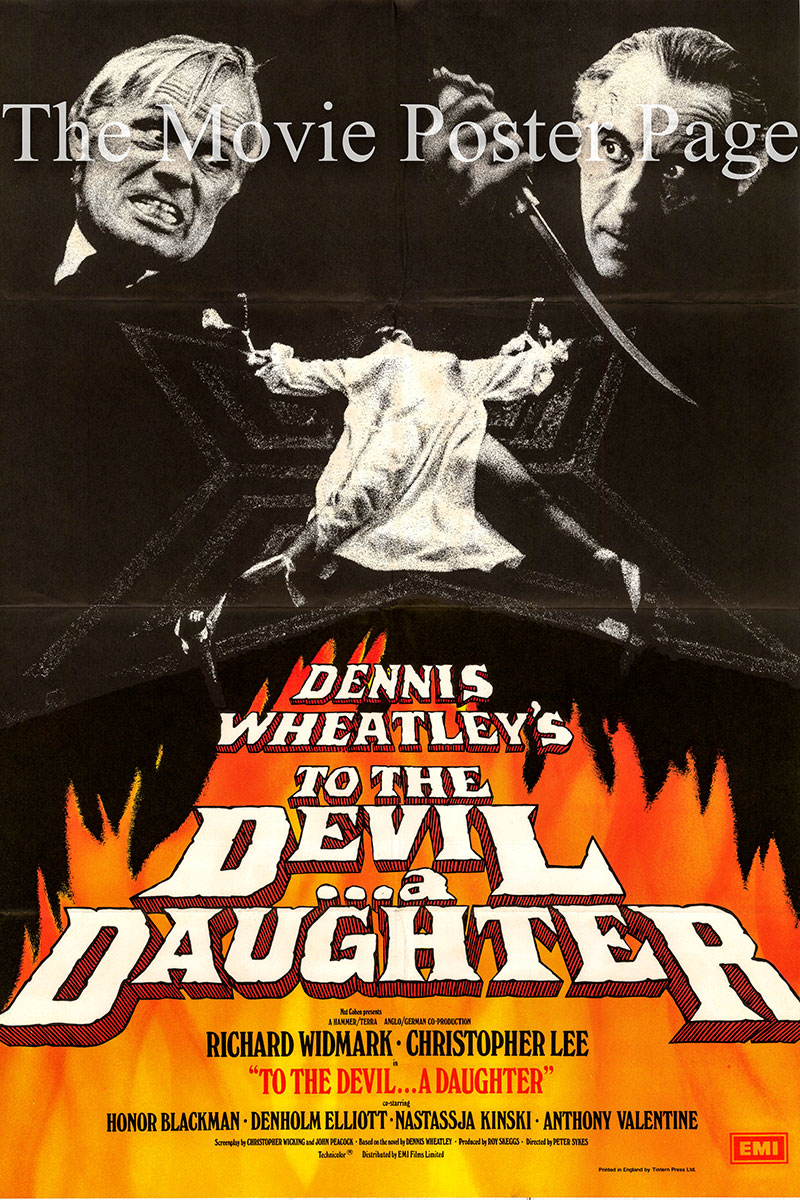 Pictured is a UK one-sheet promotional poster for the 1976 Peter Sykes film To the Devil a Daughter starring Richard Widmark as John Verney.