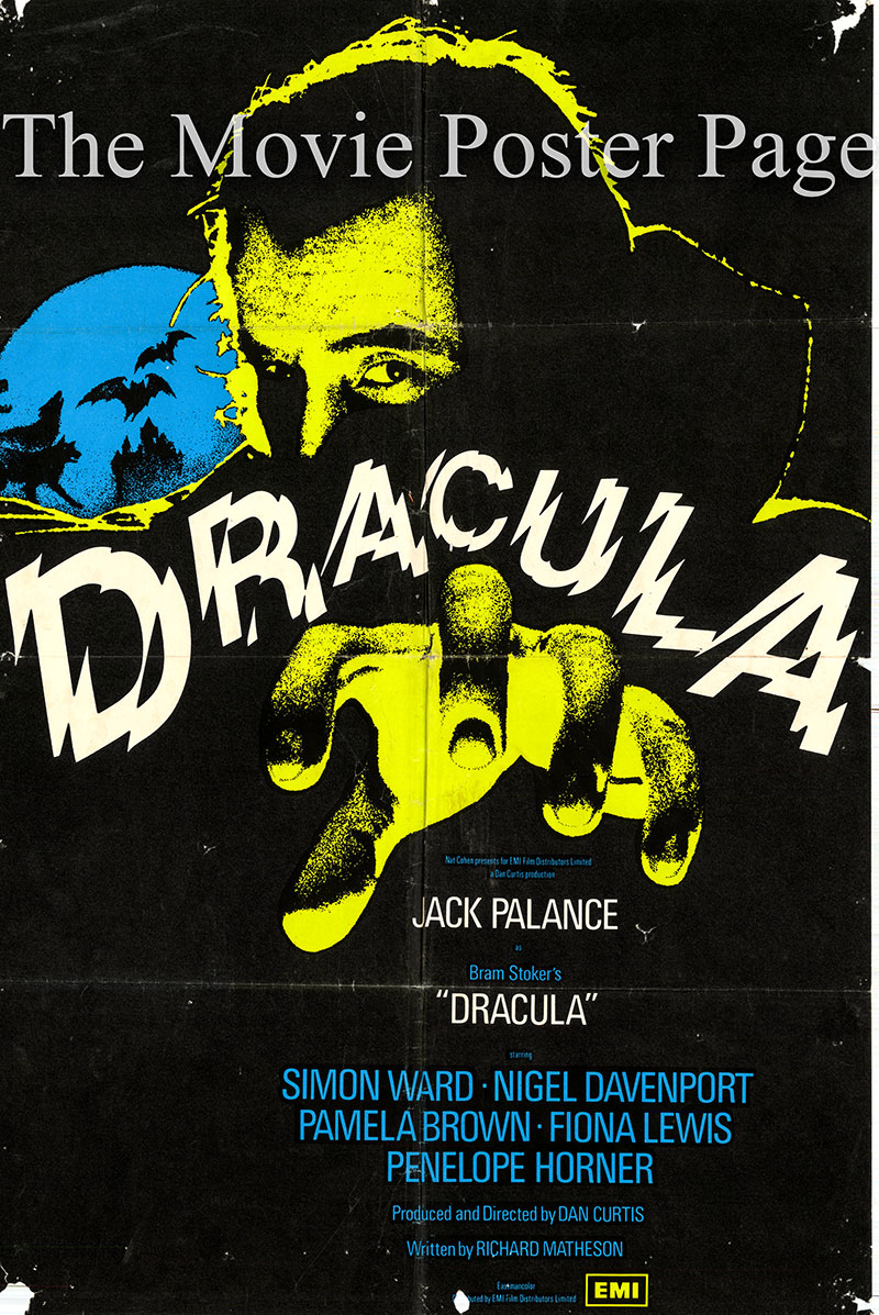 Pictured is a UK one-sheet promotional poster for the 1974 Dan Curtis film Dracula starring Jack Palance as Dracula.