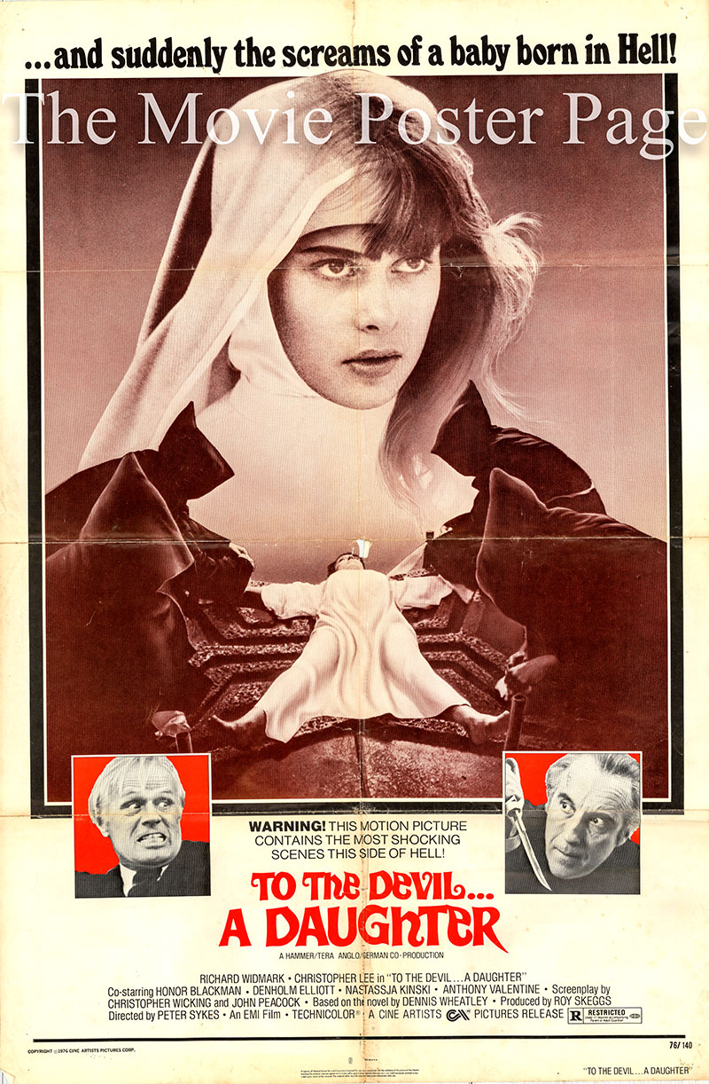 Pictured is a US one-sheet promotional poster for the 1976 Peter Sykes film To the Devil a Daughter starring Richard Widmark as John Verney.