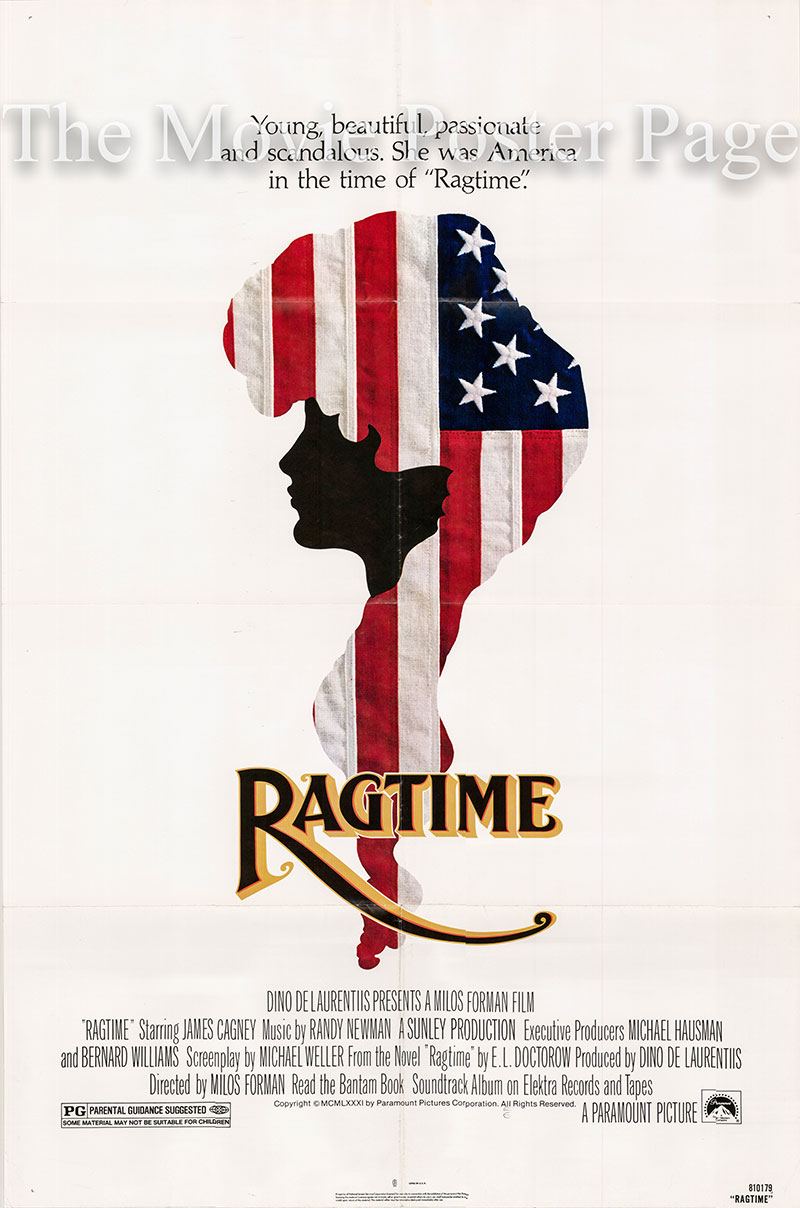 Pictured is a US one-sheet poster for the 1981 Milos Forman film Ragtime starring James Cagney.