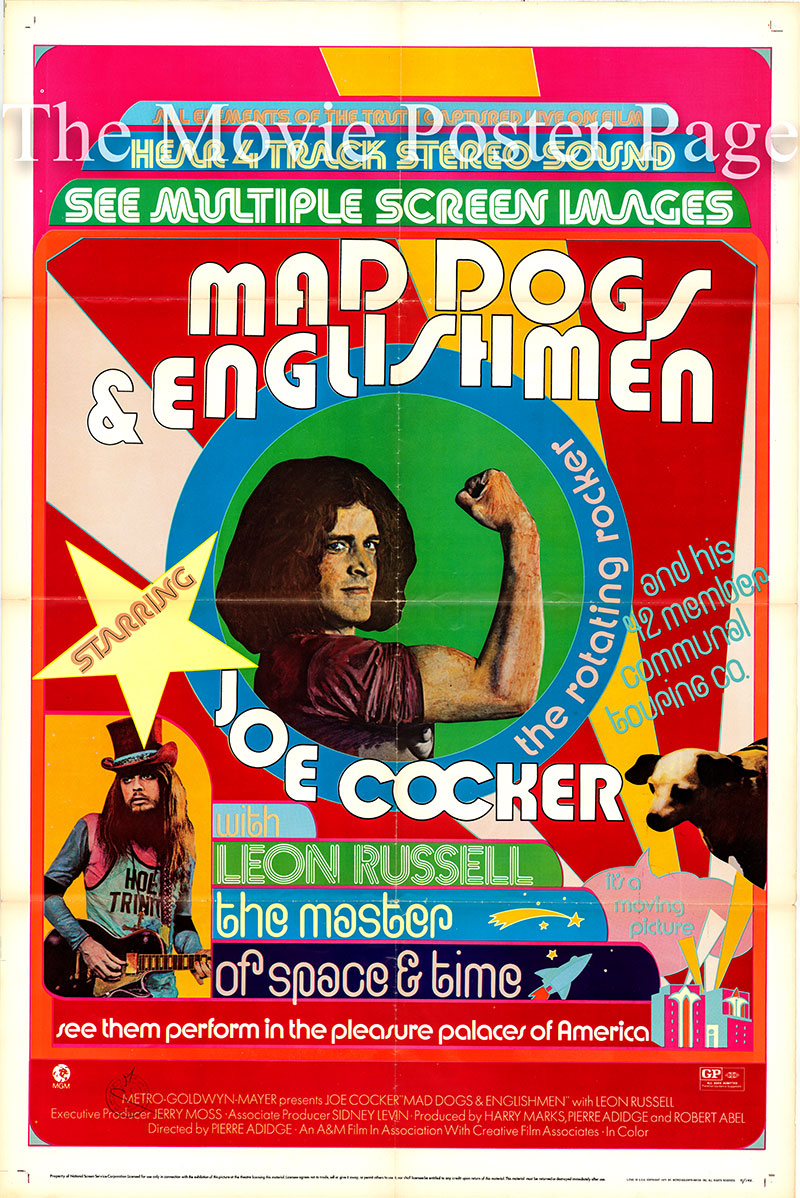 Pictured is a US one-sheet promotional poster for the 1971 Pierre Adidge film Mad Dogs & Englishmen starring Joe Cocker.