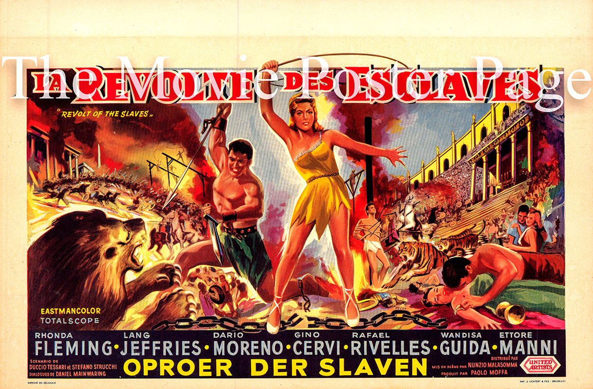 Pictured is a Belgian poster for the 1960 Nunzio Malassoma film The Revolt of the Slaves starring Rhonda Fleming as Fabiola.
