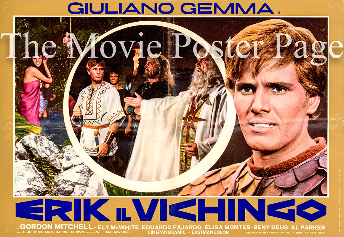 Pictured is an Italian busta promotional poster for the 1965 Mario Caiano film Vengeance of the Vikings starring Giuliano Gemma as Erik.