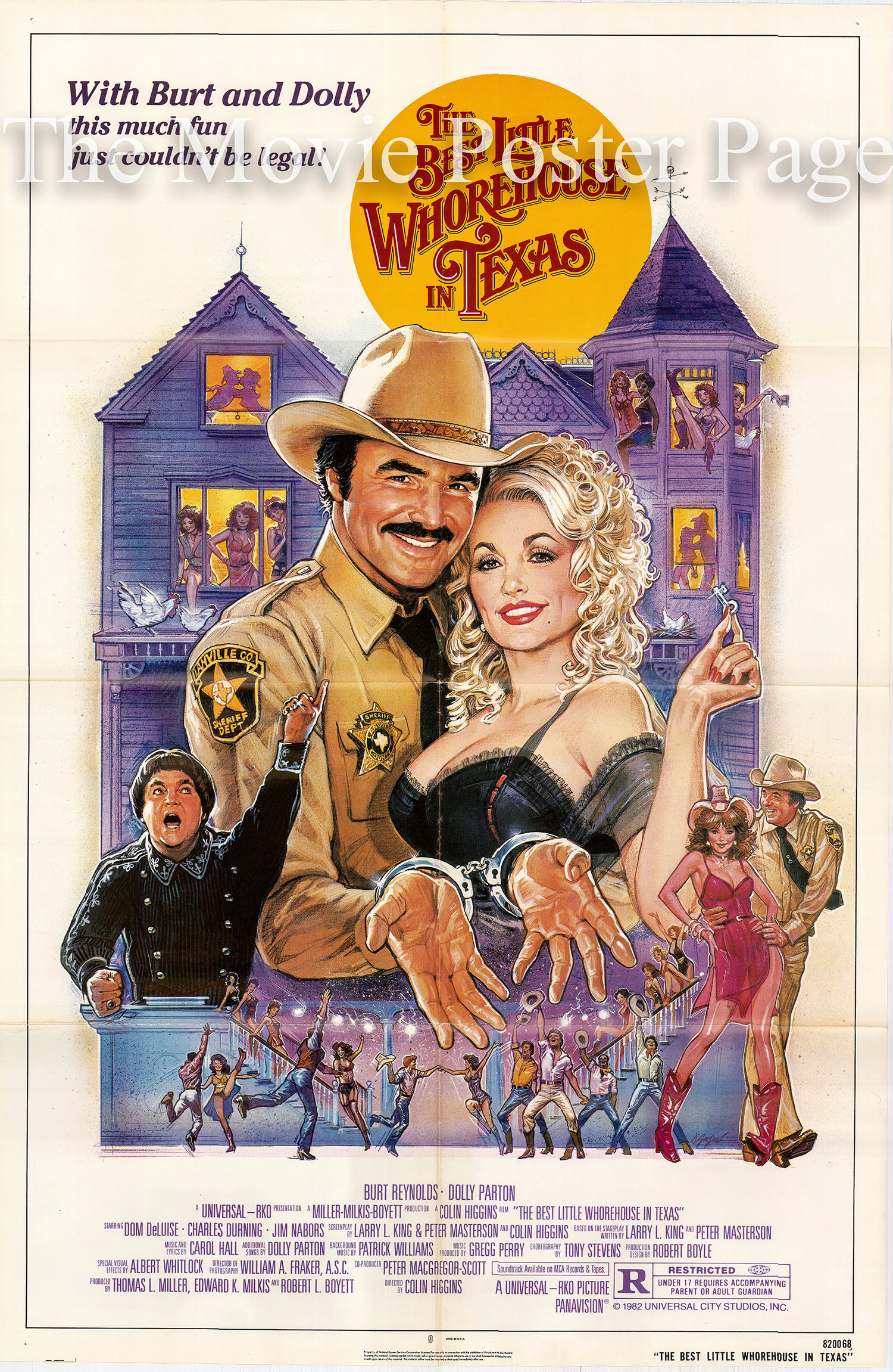 Pictured is a US one-sheet for the 1982 Colin Higgins film The Best Little Whorehouse in Texas starring Burt Reynolds.