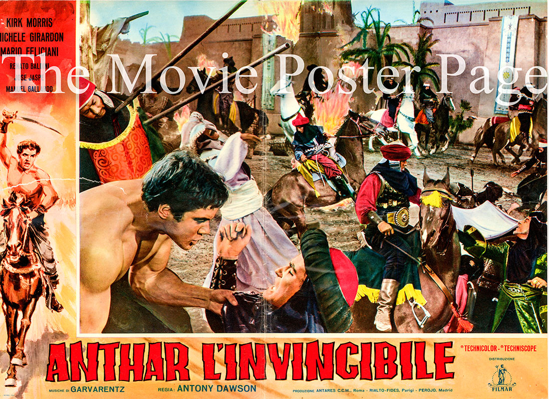 Pictured is an Italian busta promotional poster for the 1964 Antonio Margheriti film The Slave Merchants starring Kirk Morris as Anthar, son of Hercules.