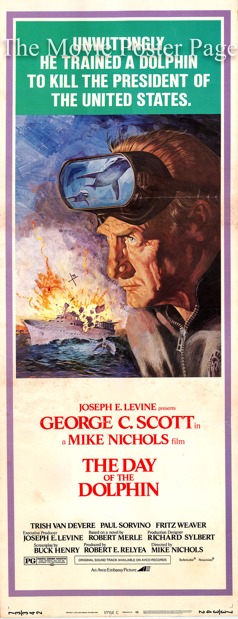Pictured is a US insert promotional poster for the 1973 Mike Nichols film The Day of the Dolphin starring George C. Scott as Dr. Jacob Terrell.