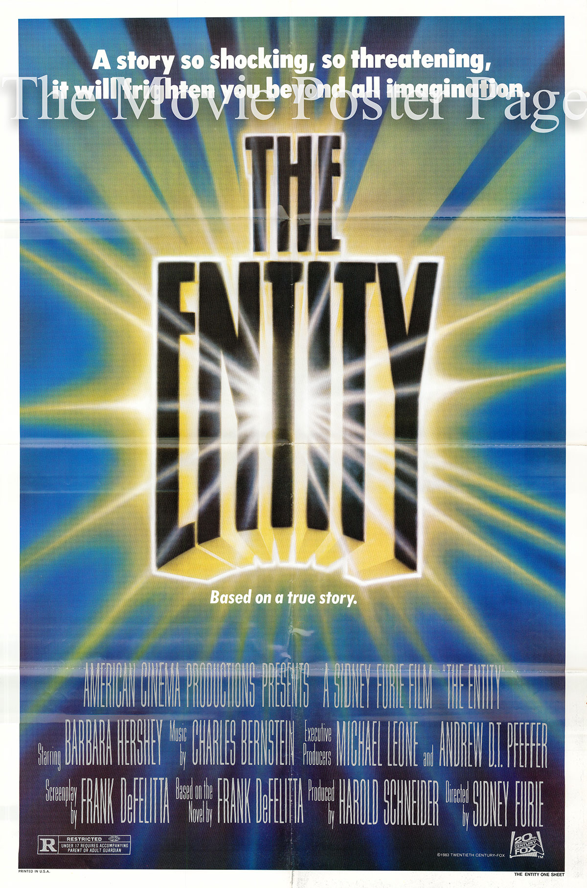 Pictured is a US one-sheet poster for the 1981 Sidney J. Furie film The Entity starring Barbara Hershey as Carla Moran.