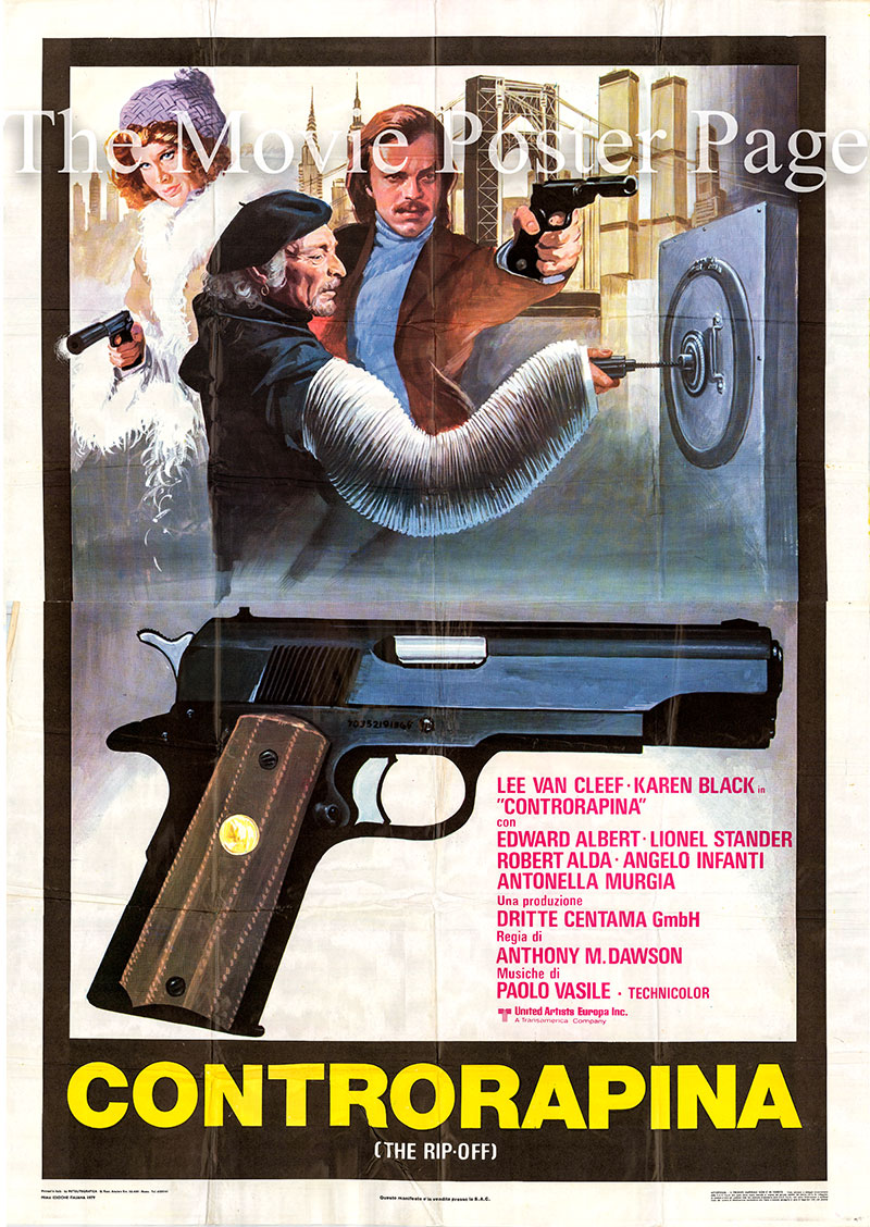 Pictured is an Italian four-sheet promotional poster for the 1978 Antonio Margheriti film The Squeeze starring Lee Van Cleef as Chris Gretchko/Ray Sloan.