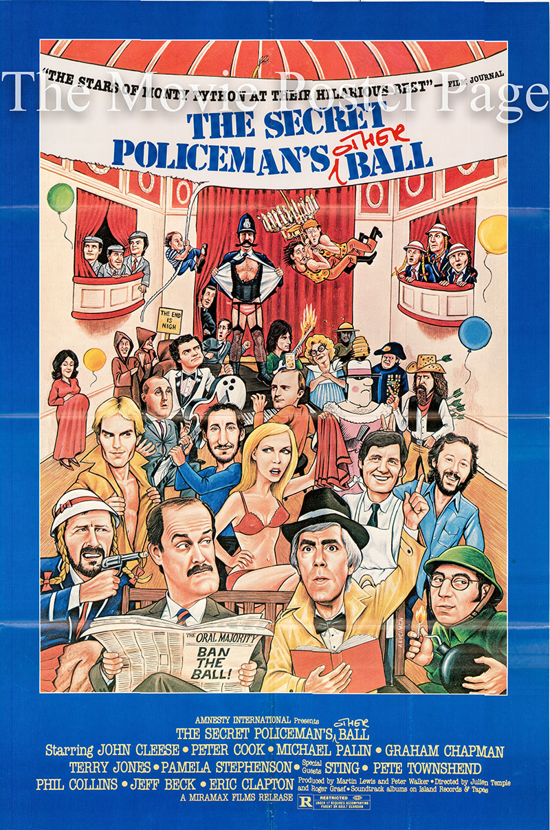 Pictured is a US one-sheet for the 1979 Roger Graef film The Secret Policeman's Ball starring John Cleese as himself.