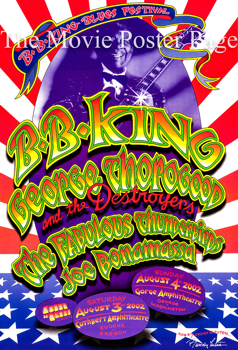 Pictured is an original House of Blues B.B. King Blues Festival poster for performances on 3-4 August 2002.
