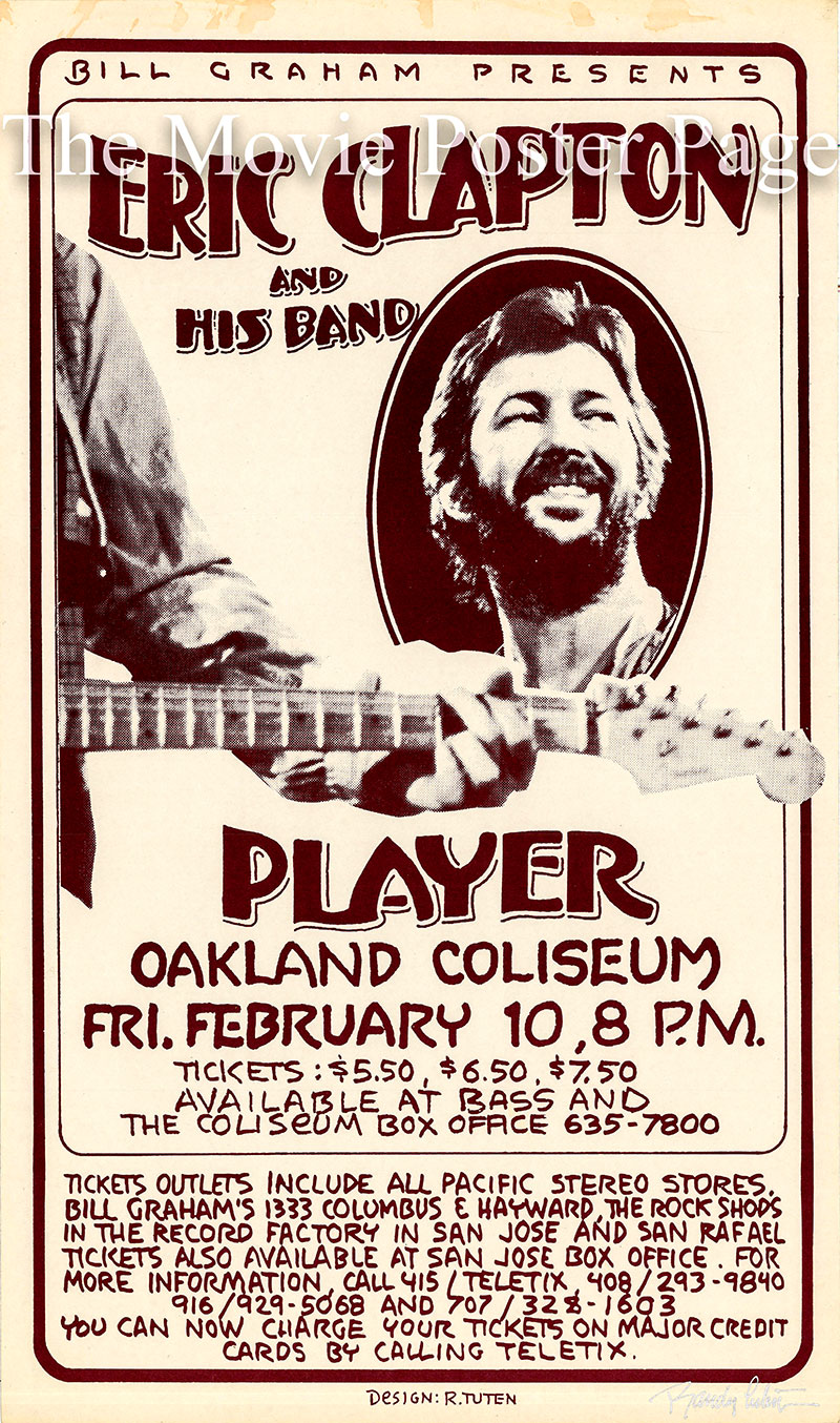 Pictured is an original poster for a 1978 performance by Eric Clapton at the Oakland Coliseum,