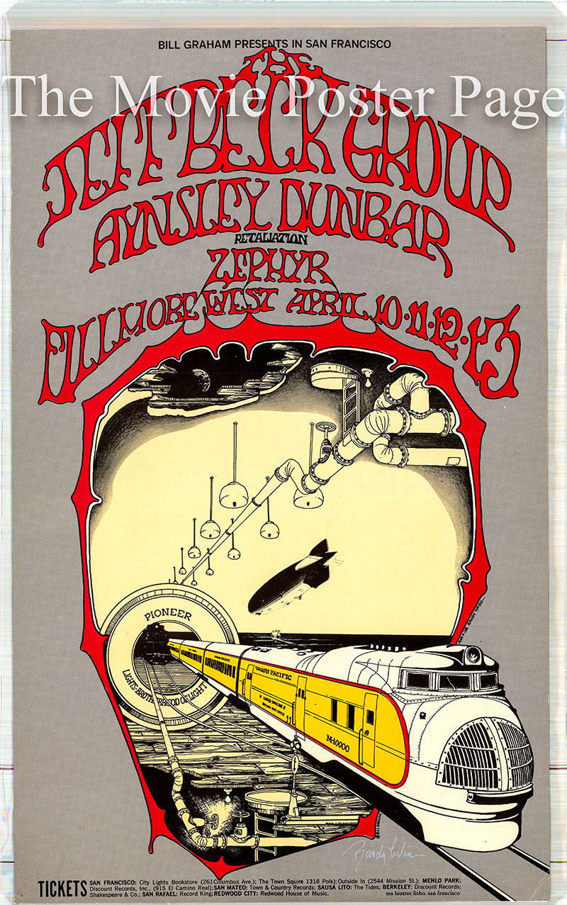 This is an original promotional poster for an appearance by the Jeff Beck Group at the Fillmore West on 10 April 1969.