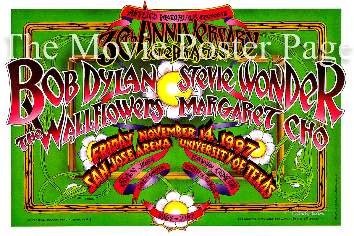 Pictured is a promotional poster for an appearance at the San Jose Arena on 14 November 1997 by Bob Dylan, Stevie Wonder, The Wallflowers and Margaret Cho.