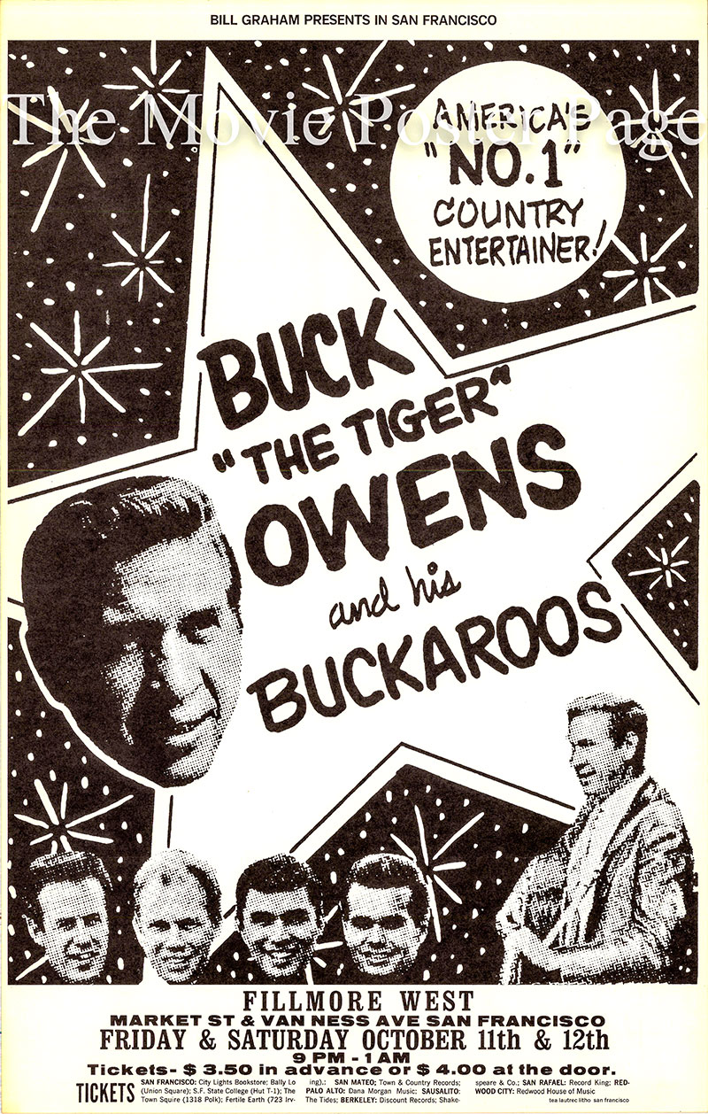 This is a promotional poster designed by Pat Hanks for an 11 October 1968 appearance at the Fillmore West by Buck Owens and his Buckaroos.