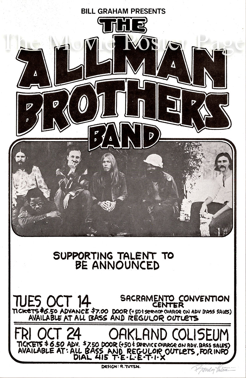 This is an original signed poster for an appearance in 1975 by the Allman Brothers Band at the Sacramento Convention Center.