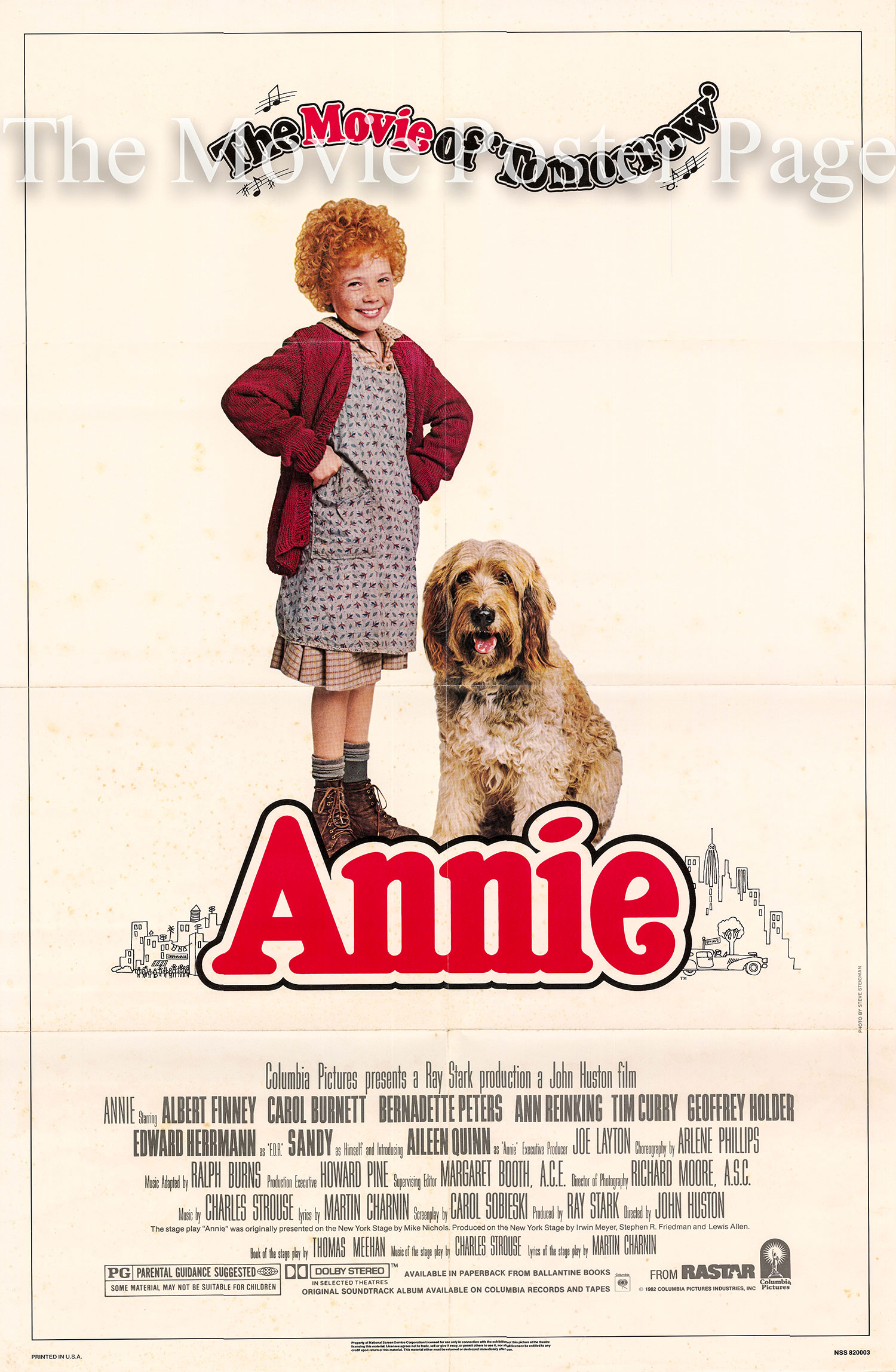 Pictured is a US promotional one-sheet poster for the 1982 John Huston film Annie starring Albert Finney.