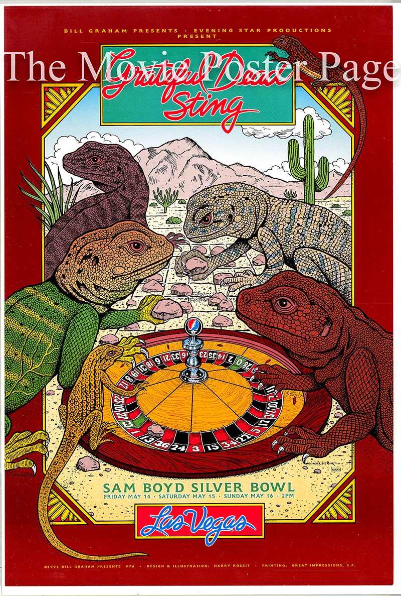 This is an original concert poster for three appearances by the Grateful Dead and Sting in May 1993 at the Sam Boyd Silver Bowl in Las Vegas.
