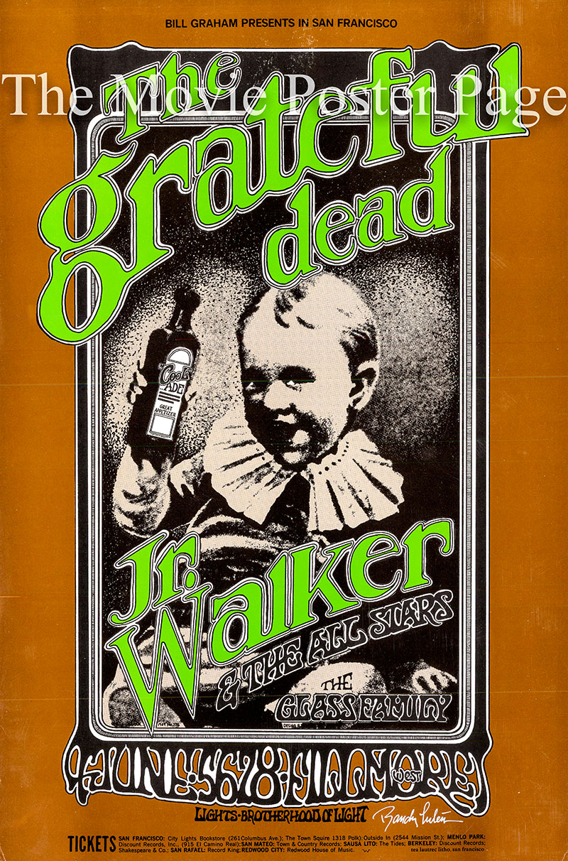 This is a second printing of a June 1969 Grateful Dead concert poster designed by Randy Tuten for an appearance at the Fillmore West in San Francisco.