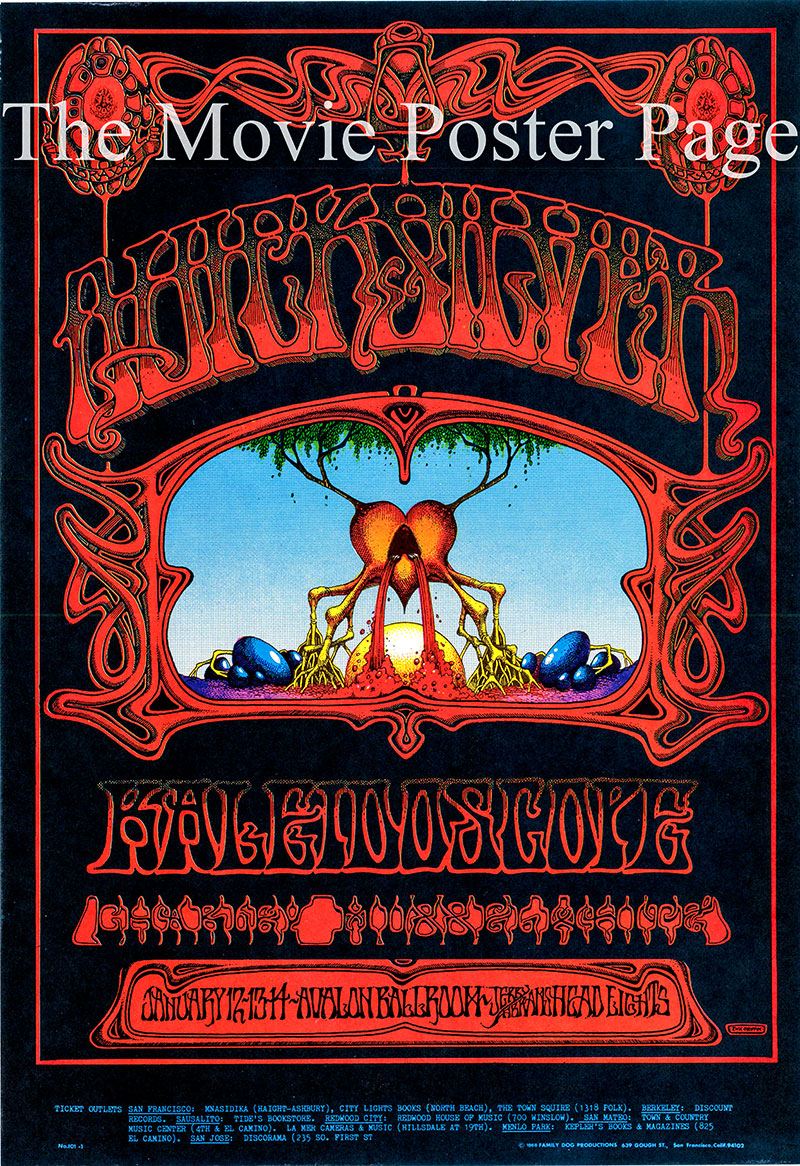 This is an original first printing of a Rick Griffin poster promoting an appearance by Quicksilver Messenger Service in January of 1968 at the Avalon Ballroom.